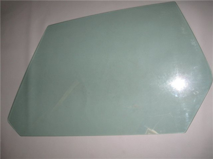 Picture of door window glass, green tinted, left