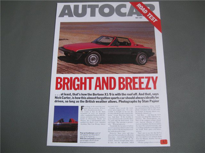 Picture of Bertone X 1/9 1987, English